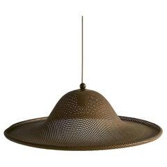 Medium Vintage Perforated Brass Pendant Light