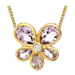 Medium Viola Necklace Pendant in Yellow Gold and Amethyst