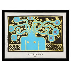 Medusa, 'after' Keith Haring, Offset Lithograph, Blue, Yellow and Black, Signed