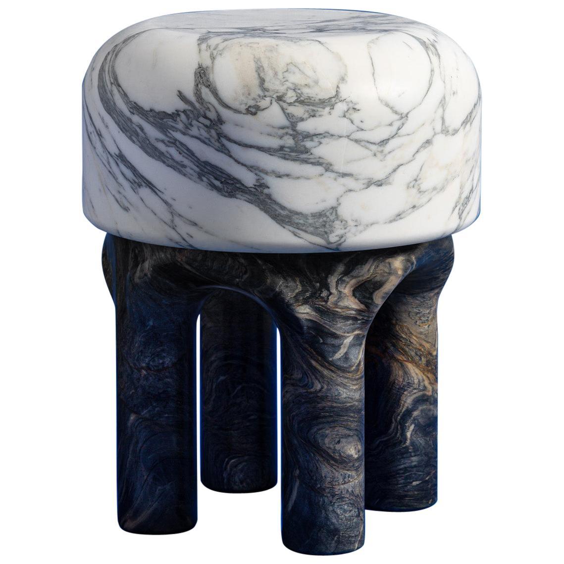 Spinzi  Medusa white and dark marble side table