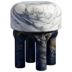Spinzi  Medusa white and dark marble side table
