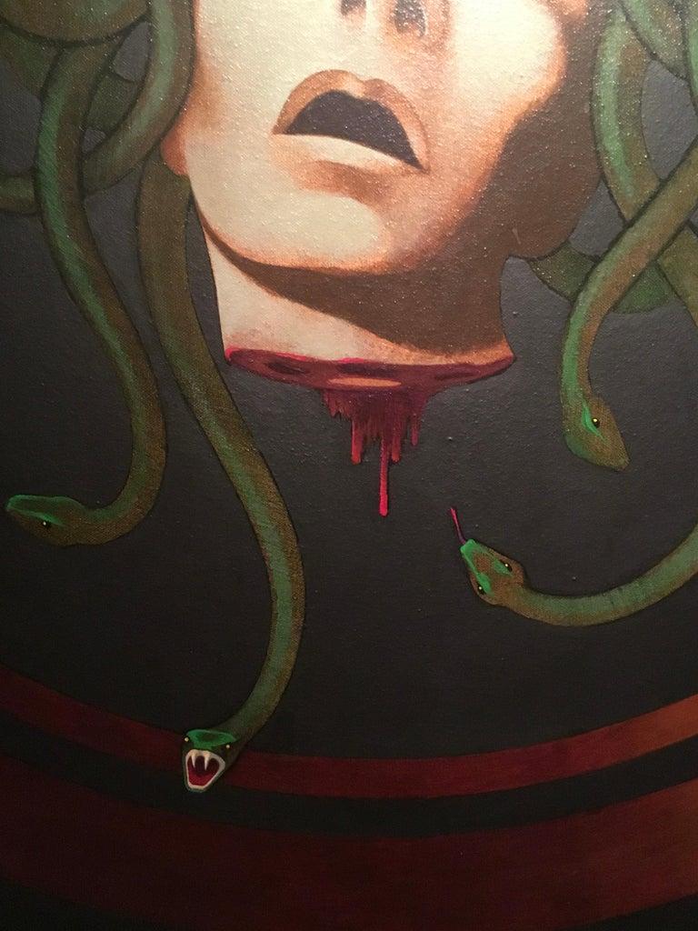 Acrylic Medusa Shield Original Painting by Lynn Curlee For Sale