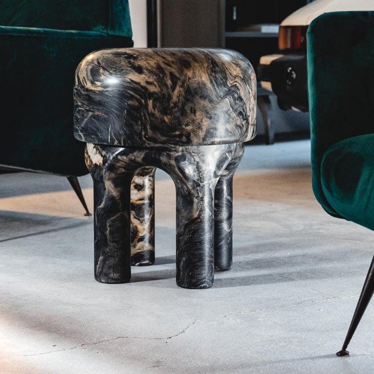 Modern Spinzi  Medusa side table / stool dark marble  For Sale