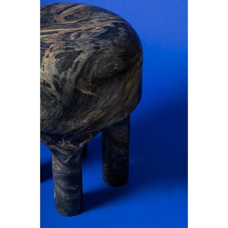Italian Spinzi  Medusa side table / stool dark marble  For Sale