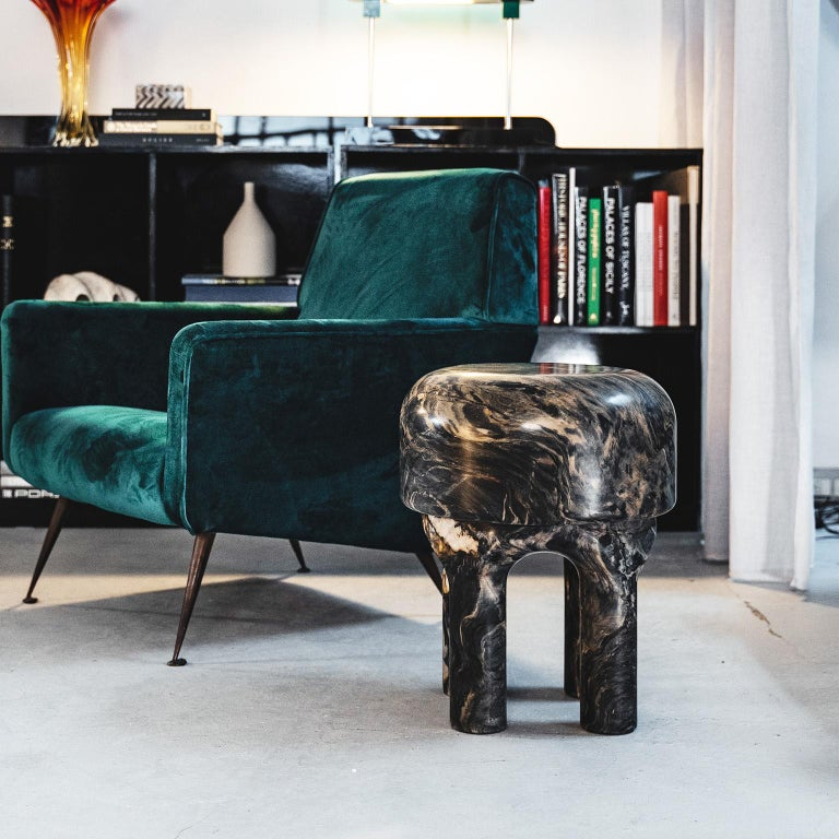 Spinzi  Medusa side table / stool dark marble  In Excellent Condition For Sale In Milan, IT