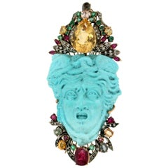 Medusa Turquoise 9 Karat Yellow Gold Brooch