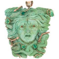 Medusa Turquoise 9 Karat Yellow Gold Emeralds Pendant Necklace