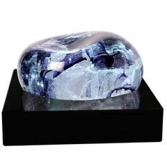Meduza Colorful Decorative Large Cast Glass Piece over Granite Base