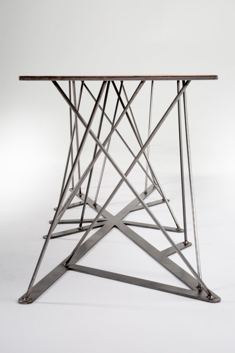 Meet the Rooted Bench, a Contemporary Combination of Steel and Leather  For Sale 4