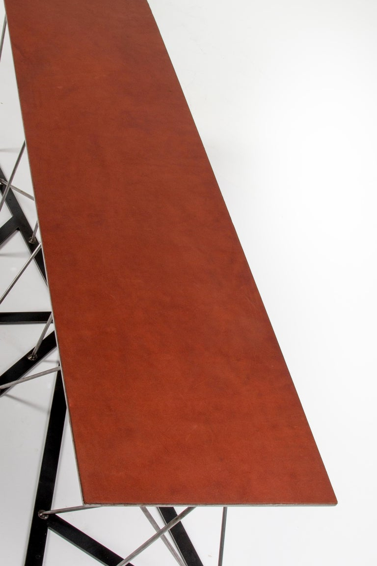 Meet the Rooted Bench, a Contemporary Combination of Steel and Leather  For Sale 5