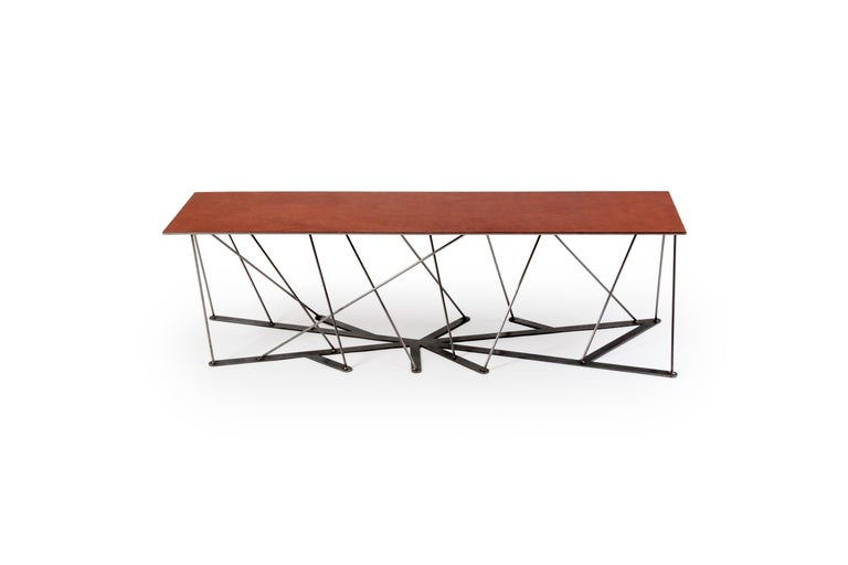Meet the Rooted Bench, a Contemporary Combination of Steel and Leather  For Sale 6