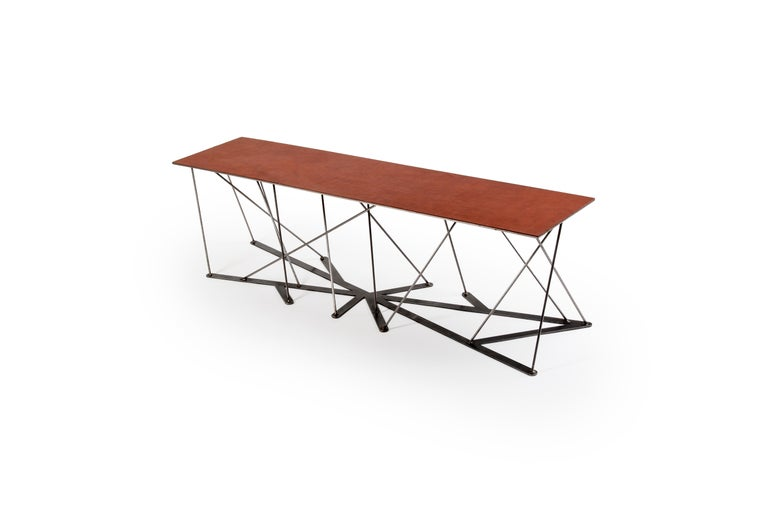 Modern Meet the Rooted Bench, a Contemporary Combination of Steel and Leather  For Sale