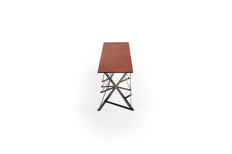 American Meet the Rooted Bench, a Contemporary Combination of Steel and Leather  For Sale