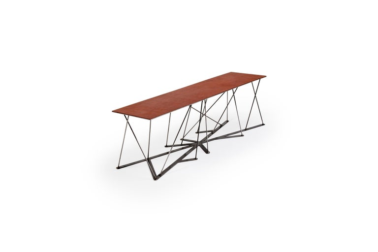 Hand-Crafted Meet the Rooted Bench, a Contemporary Combination of Steel and Leather  For Sale