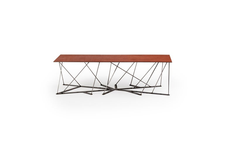 Meet the Rooted Bench, a Contemporary Combination of Steel and Leather  In New Condition For Sale In Bozeman, MT