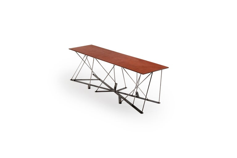 Meet the Rooted Bench, a Contemporary Combination of Steel and Leather  For Sale 1