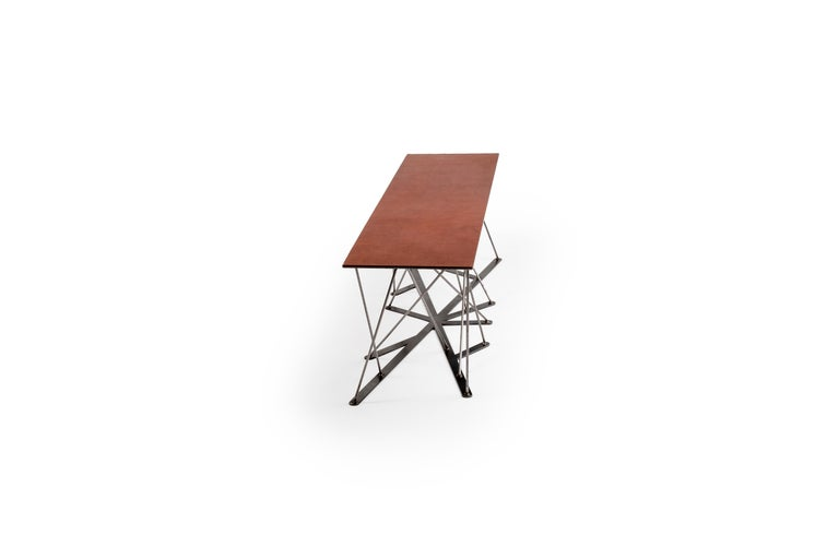 Meet the Rooted Bench, a Contemporary Combination of Steel and Leather  For Sale 2