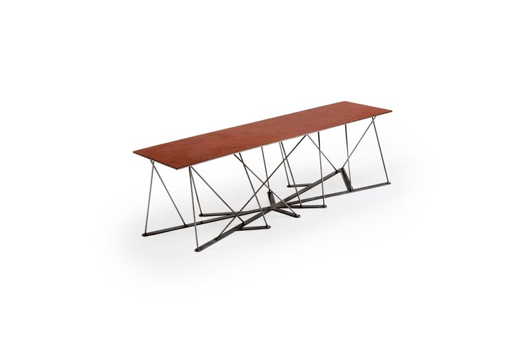 Meet the Rooted Bench, a Contemporary Combination of Steel and Leather  For Sale 3