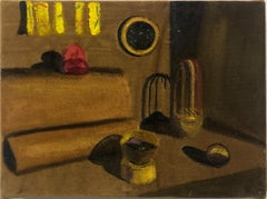 """""""Gold Dream with Mimi's Curtains"""" Still Life Acrylic Painting on Velvet, 2018"""
