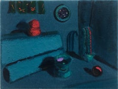 """""""Turquoise Dream with Mimi's Curtains"""" Still Life Painting on Velvet, 2018"""