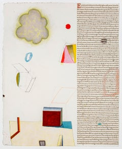 Karmic Law of Cause and Effect, Collage of Text on Paper with Geometric Shapes