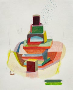 Slig Ten, Abstract Geometric Shapes in Red, Yellow, Orange, Green, Blue, Pink