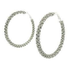 Megahuge Silver & Crystal Hoop Earrings 2000s