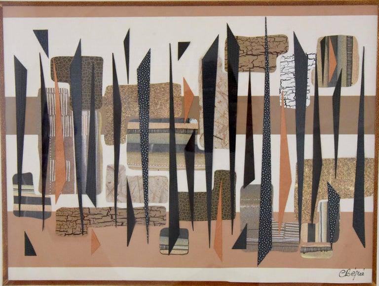 Mid-Century Modern Megapolis Collage  Artwork Mixed Media Chantal Bégué 1985 France For Sale