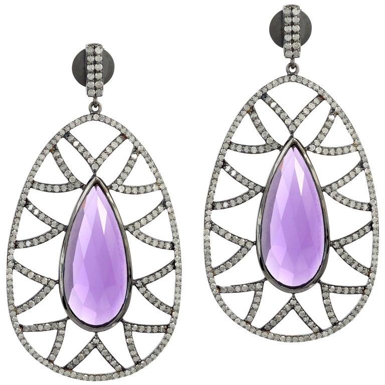 Meghna Jewels Bora Bora Amethyst Diamond Earrings For Sale