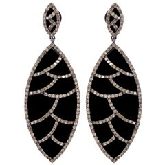 Meghna Jewels Bora Bora Earrings Black Onyx Marquise Cabochon and Diamonds