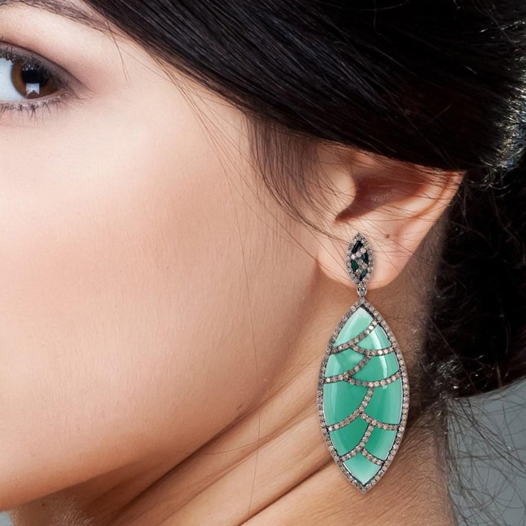 Modern Meghna Jewels Bora Bora Earrings Carnelian Marquise Cabochon Diamonds For Sale
