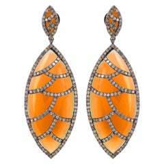 Meghna Jewels Bora Bora Earrings Carnelian Marquise Cabochon Diamonds