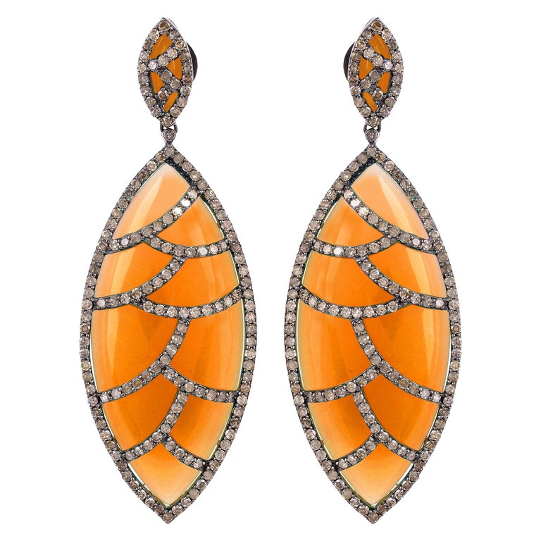Meghna Jewels Bora Bora Earrings Carnelian Marquise Cabochon Diamonds For Sale