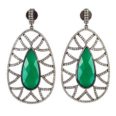 Meghna Jewels Bora Bora Earrings Green Onyx and Diamonds