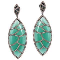 Meghna Jewels Bora Bora Earrings Green Onyx Marquise Cabochon and Diamonds