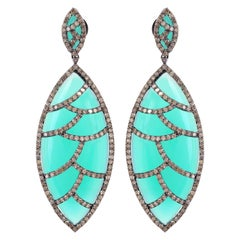 MEGHNA JEWELS Bora Bora Earrings Turquoise Marquise Cabochon Diamonds