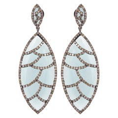 Meghna Jewels Bora Bora Earrings White Onyx Marquise Cabochon Diamonds