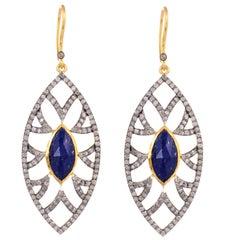 Meghna Jewels Bora Bora Marquise Earrings Lapis and Diamonds