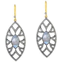 Meghna Jewels Bora Bora Marquise Earrings Moonstone Diamonds