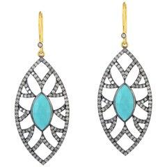 Meghna Jewels Bora Bora Marquise Earrings Turquoise and Diamonds