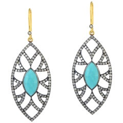 Meghna Jewels Bora Bora Marquise Earrings Turquoise Diamonds