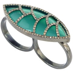 Meghna Jewels Bora Bora Green Onyx Champagne Diamond Ring