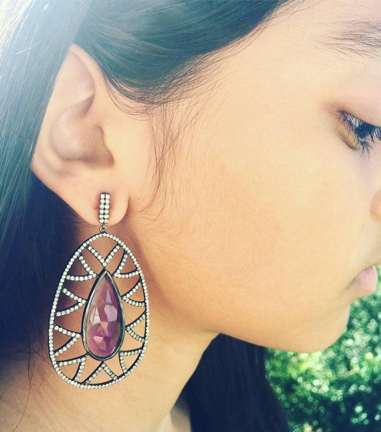 Modern Meghna Jewels Bora Bora Statement Earrings Rubelite and Diamonds For Sale