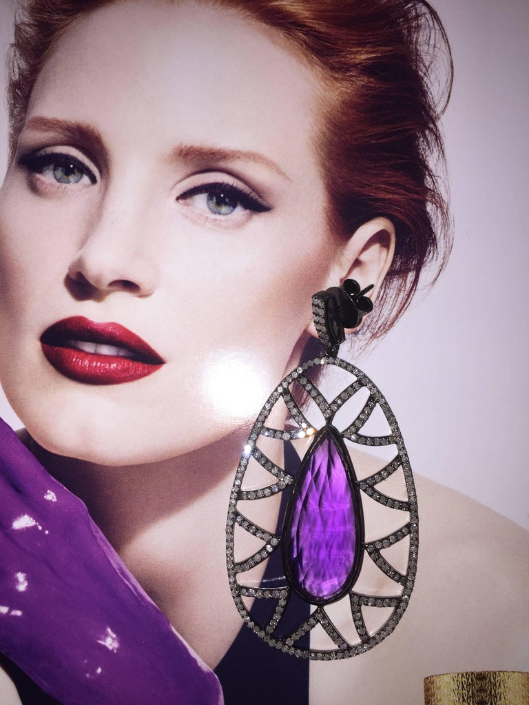 Pear Cut Meghna Jewels Bora Bora Statement Earrings Rubelite and Diamonds For Sale