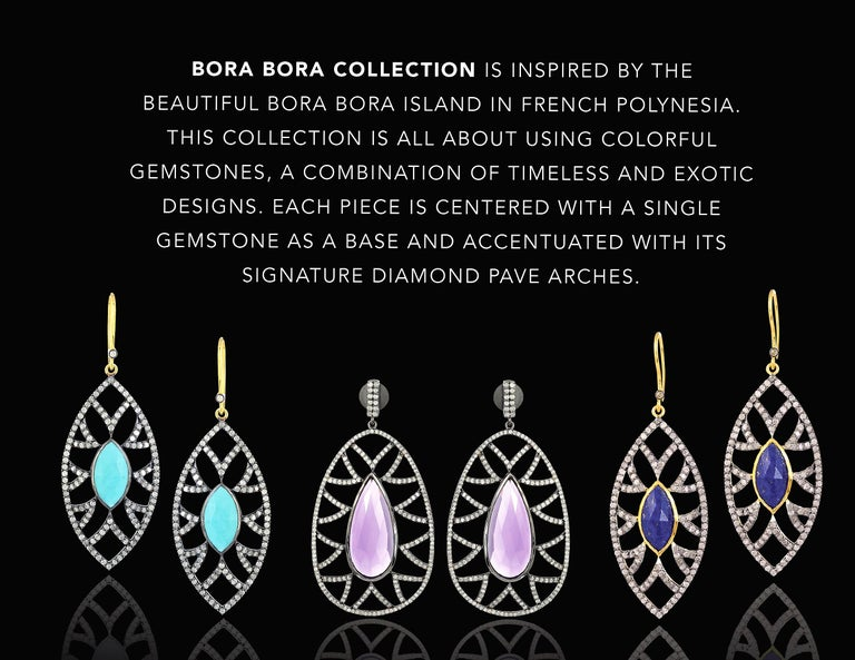 Meghna Jewels Bora Bora Statement Earrings Rubelite and Diamonds In New Condition For Sale In Hoffman Estate, IL