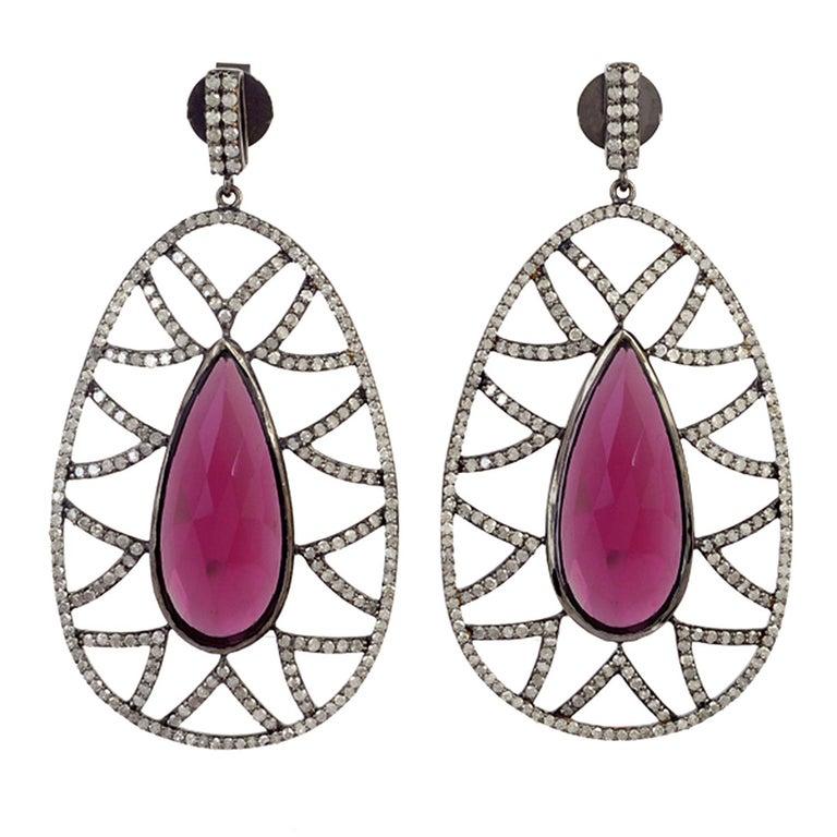 Meghna Jewels Bora Bora Statement Earrings Rubelite and Diamonds For Sale