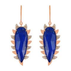 Meghna Jewels Claw Alt Diamonds and Lapis Drop Earrings