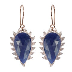 Meghna Jewels Claw Blue Sapphire and Diamonds Drop Earrings