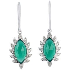 Meghna Jewels Claw Diamonds Green Onyx Marquise Single Drop Earrings