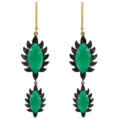 Meghna Jewels Claw Double Drop Earrings Green Onyx and Black Diamonds